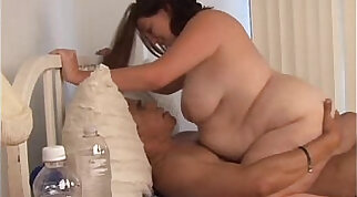 Beautiful big tits BBW gets blasted with cum all over her pretty face