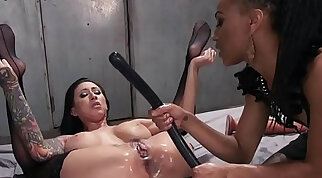 Lezdom with butt dildo fucking and strap on