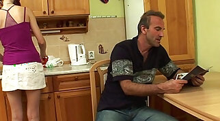 Redhead Stepdaughter Fucked By Stepdad In The Kitchen
