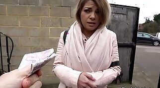 Blonde Sophia Banged In Cash Stunt Outdoors