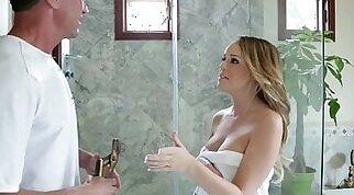 Huge titted blonde Alexis Adams sucks
