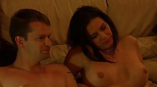 Busty brunette in a tear corset ruin a group sex in the bedroom