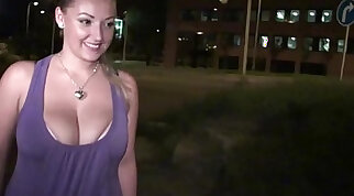 Busty submissives pleasing a public orgy