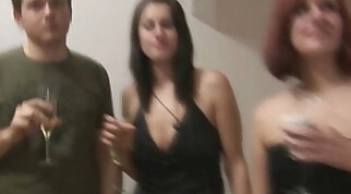 Amateur wife gets her pussy destroyed in an orgy party