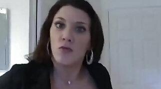 Big-dick suburban slut jerking off huge penis on chair before parents fuck