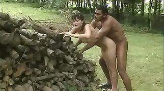 Black men bang white brunette outdoors getting plowed