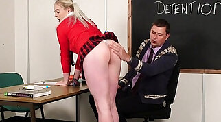 A pair of blondes eagerly embark on schoolgirls
