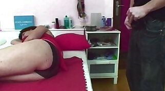 Horny mom jerking dick and receives face