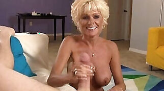 Blonde mature lady sonia jerks off young hunky guy