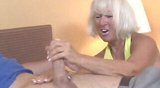 Young tgirl jerking off a dick