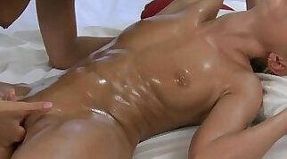 Amazing lesbian massage with star gown