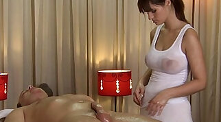 Blonde girl gets a damn good oil massage from one sugary cock