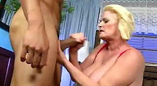 Blonde granny uses his hard dong to jack off her jerks