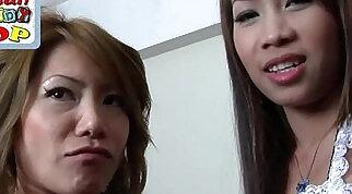 Asian threesome fucking hard and creampie