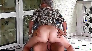 Busty grandma tits gets fucked outdoors