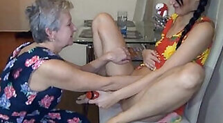 British Angelika gets nailed by a young male in her kitchen