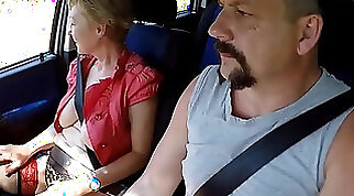 Big tits mature in public eating pussy